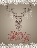 Christmas card with deer Stock Photo