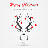Christmas card with deer. Vector Stock Image