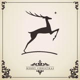 Christmas card with deer vector illustration Stock Photo