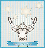 Christmas card with deer Royalty Free Stock Photos