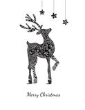 Christmas card with deer on white Stock Images