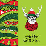 Christmas card with deer in winter hat. Christmas hand-drawn ethno pattern, tribal background. Vector illustration Royalty Free Stock Images