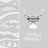 Christmas card with deer in winter hat. Christmas hand-drawn ethno pattern, tribal background. Vector illustration Stock Photos