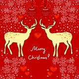 Christmas card with deers Royalty Free Stock Photos