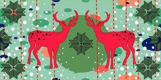 Christmas card with deers Stock Images