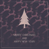 Christmas Card with Deers Background Royalty Free Stock Photos