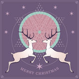 Christmas card with deers Stock Photography