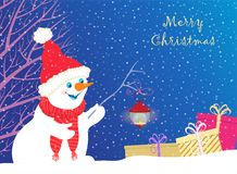 Christmas card depicting a snowman with a flashlight vector illustration