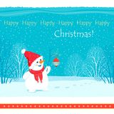 Christmas card depicting a snowman holding a twig with a flashlight on the background of snow and winter trees. Square Christmas card with a picture of a Stock Photography