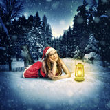 Christmas card desighn - beautiful woman Royalty Free Stock Images