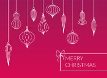 Different kinds lined baubles - balls hanging set on pink background. Simple design Merry Christmas postcard. vector illustration