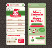 Christmas Card Design Boarding Pass Ticket Template royalty free illustration
