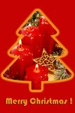 Christmas card design with candles. Photo in fir tree shape on red background Stock Photo