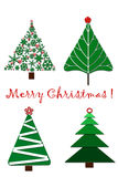 Christmas card design with four trees_. Christmas card design with four trees in various stylization and greetings_ Stock Photos