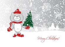 Christmas card design with funny bear Royalty Free Stock Photography