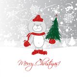 Christmas card design with funny bear Royalty Free Stock Images