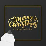 Christmas card design with gold lettering and foil frame. Festive postcard for winter holidays. Background of black premium paper. With New year gratters royalty free illustration