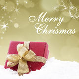 Christmas card design in golden lights background Stock Photo