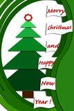 Christmas card design with green layers Royalty Free Stock Image
