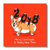 Christmas card design.  Happy new year and Merry Christmas funny illustration. Holiday postcard with cute Welsh Corgi Pembroke and funny figures. Christmas card Royalty Free Stock Photos