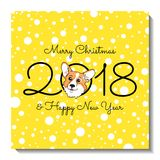 Christmas card design. Holiday postcard with cute Welsh Corgi Pembroke. Stock Photos