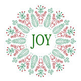 Christmas Card design. Joy. Hand drawn vector illustration. Royalty Free Stock Photos