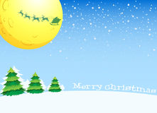 A christmas card design with a moon and christmas trees Stock Photos