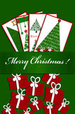 Christmas card design with postcards and gifts Royalty Free Stock Image