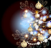 Christmas card for design with realistic fur branches and balls Stock Photography