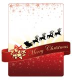 Christmas card design on red background with golden snowflakes and Santa's flying sleigh Stock Images