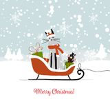 Christmas card design, sledge with santa cat. Vector illustration Stock Photography