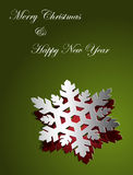 Christmas card design snowflake sticker paper Stock Photo