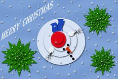 Christmas card design with snowman Stock Photo