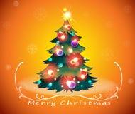A christmas card design with a sparkling christmas tree. Illustration of a christmas card design with a sparkling christmas tree Stock Photo