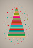 Christmas card design with stylized colorful ribbon Christmas tree. Vector illustration. Royalty Free Stock Photos