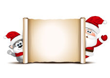 Christmas card design template. Santa and cat Stock Images