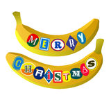 Christmas card design. Two banana with stickers. Vector illustration. Royalty Free Stock Image