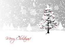 Christmas card design with winter tree and Royalty Free Stock Images