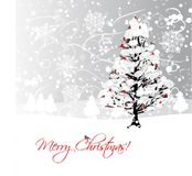 Christmas card design with winter tree and Royalty Free Stock Photo
