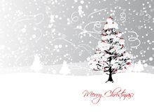 Christmas card design with winter tree and Stock Photo