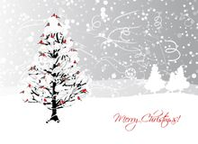 Christmas card design with winter tree and Royalty Free Stock Photos