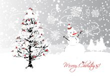 Christmas card design with winter tree and Royalty Free Stock Photography