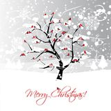 Christmas card design with winter tree and Stock Images