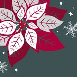 Christmas card design of xmas leaves and snowflake on green background stock images