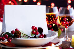 Christmas card in dishware Royalty Free Stock Photos