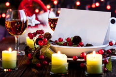 Christmas card in dishware Stock Photo