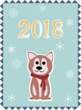 Christmas card with dog stock illustration