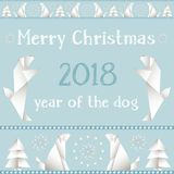 Christmas card with dogs, made in the style of origami. Royalty Free Stock Images