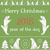 Christmas card with dogs, made in the style of origami. Royalty Free Stock Image