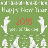Christmas card with dogs, made in the style of origami. Stock Images